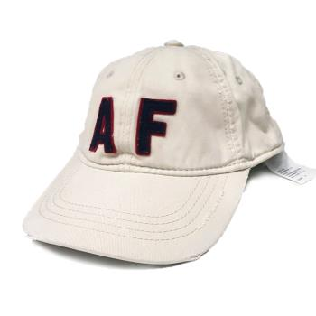 【AbercrombieFitch】經典款仿舊貼布棒球帽-白(619389734)