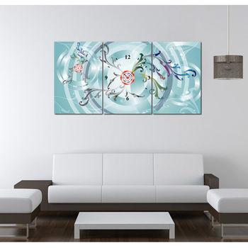【TIME ART】靜音機芯三聯式時鐘 無框畫鐘 二畫一鐘掛鐘 40*60*2.5cm R3-081