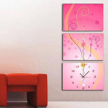 【TIME ART】靜音機芯三聯式時鐘 無框畫鐘 二畫一鐘掛鐘 40*60*2.5cm R3-079
