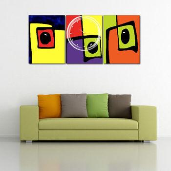 【TIME ART】靜音機芯三聯式時鐘 無框畫鐘 二畫一鐘掛鐘 40*60*2.5cm R3-078