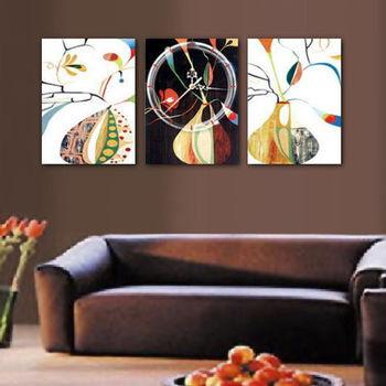 【TIME ART】靜音機芯三聯式時鐘 無框畫鐘 二畫一鐘掛鐘 40*60*2.5cm R3-072