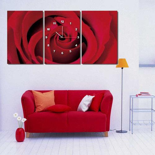 【TIME ART】靜音機芯三聯式時鐘 無框畫鐘 二畫一鐘掛鐘 30*40*2.5cm R3-065