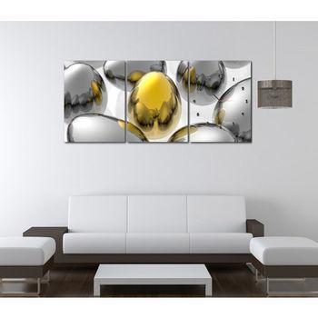 【TIME ART】靜音機芯三聯式時鐘 無框畫鐘 二畫一鐘掛鐘 30*40*2.5cm R3-015