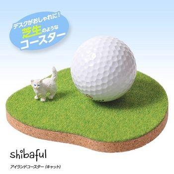 日本 Shibaful 代代木公園 草皮 杯墊 (貓咪 )