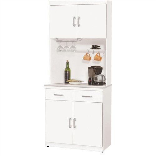 【文創集】艾登莉 白色2.7尺白雲石面收納餐櫃組合(上+下座)