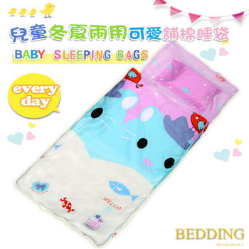 BEDDING 淘氣貓咪  100%棉 多功能冬夏兩用鋪棉兒童睡袋