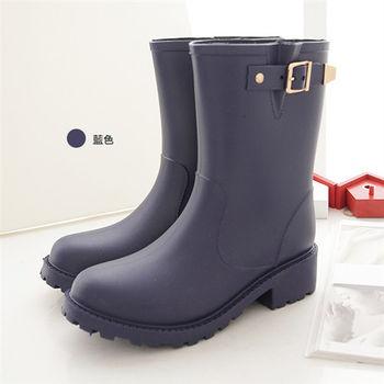 《DOOK》環帶飾釦中筒防水雨靴-藍色