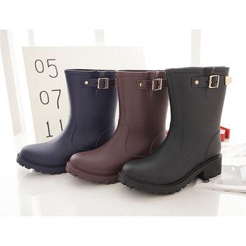 《DOOK》環帶飾釦中筒防水雨靴-三色