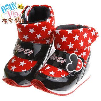 《布布童鞋》Disney迪士尼米奇酷炫紅色時尚保暖空氣靴(16~21公分)MLK614A