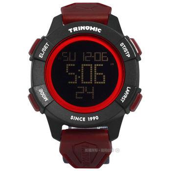 PUMA / PU911271003 / 帥氣剛強運動電子帆布腕錶 黑紅x黑框x灰 47mm