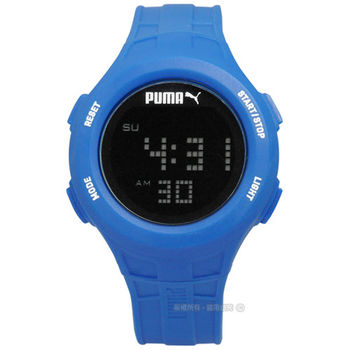 PUMA / PU911301005 / 感受心跳脈動運動電子橡膠腕錶 黑x藍 43mm