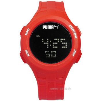 PUMA / PU911301003 / 感受心跳脈動運動電子橡膠腕錶 黑x紅 43mm