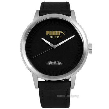 PUMA / PU104101001 / 急速奔馳皮革腕錶 黑色 45mm