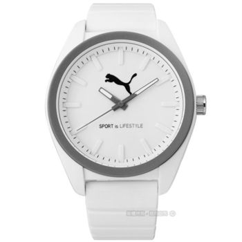 PUMA / PU911241005 / 活力非凡運動橡膠腕錶 灰x白 45mm