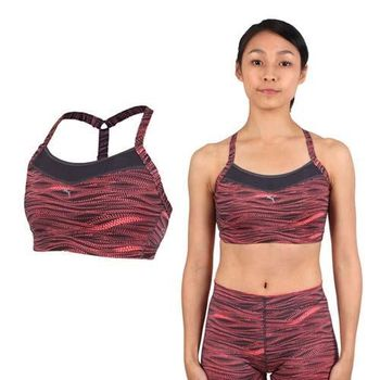 【PUMA】女吸濕排汗PWRSHAPE中衝擊運動背心-BRA 慢跑 有氧瑜珈  黑粉橘
