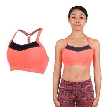 【PUMA】女吸濕排汗PWRSHAPE中衝擊運動內衣-BRA 慢跑 有氧瑜珈 背心 灰亮橘