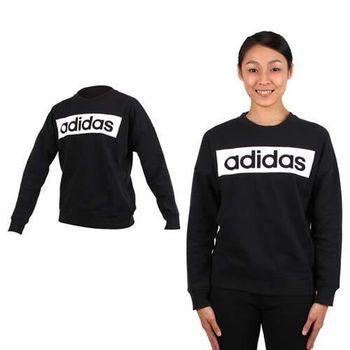 【ADIDAS】女內裡刷毛長袖圓領衫-長T恤 大學T 刷毛 愛迪達 黑白