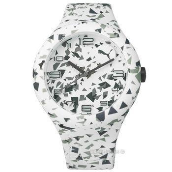 PUMA / PU103211025 / 繽紛幾何層次運動矽膠腕錶 白色 47mm