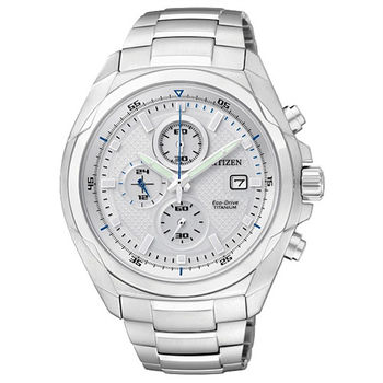 CITIZEN Eco-Drive 超級【鈦】英雄光動能三環優質時尚腕錶-白-CA0190-56B