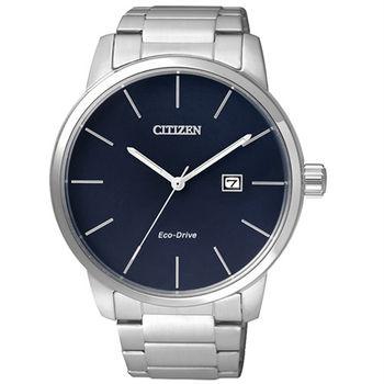 CITIZEN Eco-Drive 時間精準同步優質男士腕錶-藍-BM6960-56L