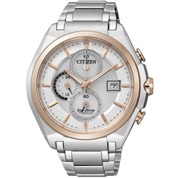 CITIZEN Eco-Drive 超級【鈦】盛世光動能三環優質時尚腕錶-金框-CA0356-55A