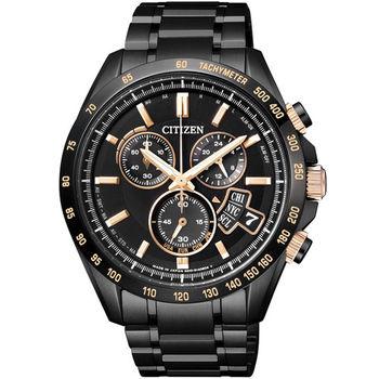 CITIZEN 霸王版圖光動能電波萬年曆計時優質腕錶-黑+玫瑰金-BY0135-57E