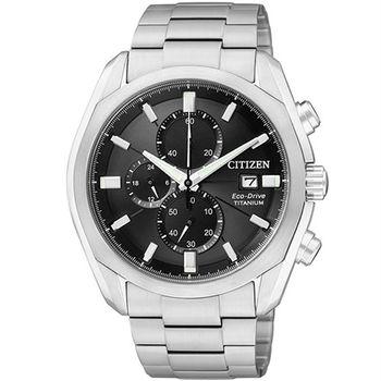 CITIZEN Eco-Drive 都會【鈦】美麗光動能時尚優質腕錶-黑-CA0021-53E