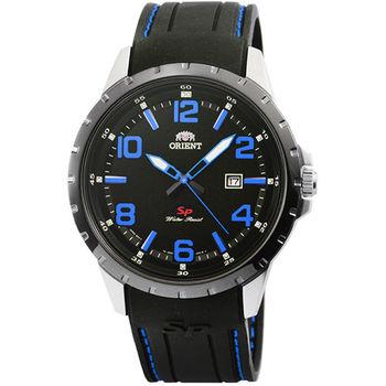 ORIENT 東方錶石英運動膠帶錶-黑藍 / FUNG3006B (原廠公司貨)