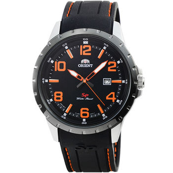 ORIENT 東方錶石英運動膠帶錶-黑橘 / FUNG3004B (原廠公司貨)