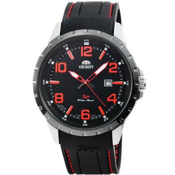 ORIENT 東方錶石英運動膠帶錶-黑紅 / FUNG3003B (原廠公司貨)