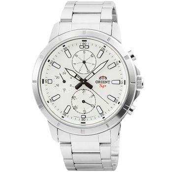ORIENT 東方錶DESIGN三眼計時運動鋼帶錶-白 / FUY03002W (原廠公司貨)