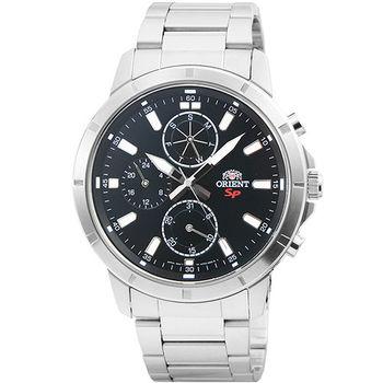 ORIENT 東方錶DESIGN三眼計時運動鋼帶錶-黑 / FUY03001B (原廠公司貨)