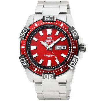東方錶潛水機械鋼帶錶-紅 / FEM7R002H (原廠公司貨)