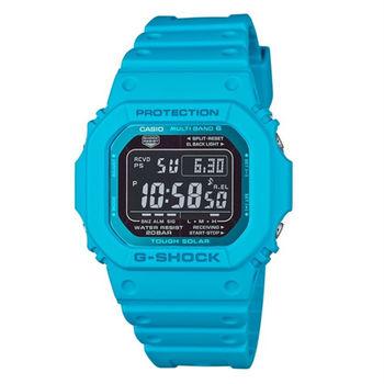 G-SHOCK 酷炫魅力展現電波時計運動腕錶-藍-GW-M5610MD-2