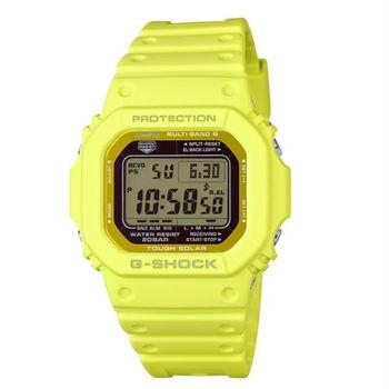 G-SHOCK 酷炫魅力展現電波時計運動腕錶-黃-GW-M5610MD-9