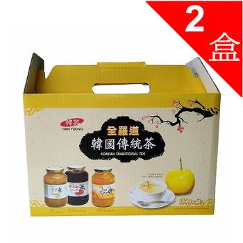 【一等鮮】韓國蜂蜜柚子茶養身禮盒2盒(柚子茶1罐+生薑茶1罐+五味子茶1罐/1kg*3罐/盒)