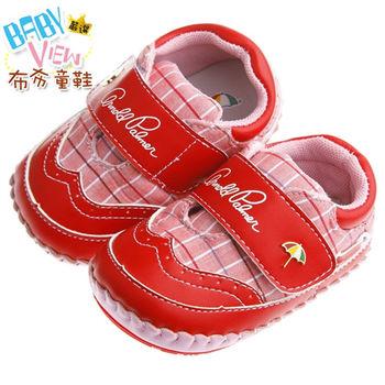 《布布童鞋》ArnoldPalmer雨傘牌潮流格紋紅色寶寶學步鞋(13~15.5公分)MAK252A