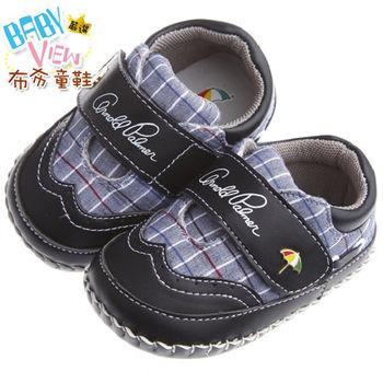 《布布童鞋》ArnoldPalmer雨傘牌潮流格紋黑色寶寶學步鞋(13~15.5公分)MAN252D