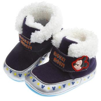 《布布童鞋》Disney迪士尼米奇深藍頂級台灣製保暖靴(13~16cm)MLJ206B