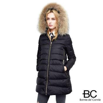 【法國BC】大毛領拼接長款羽絨外套