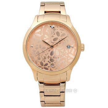 ESPRIT / ES108902003 / 優雅花漾質感日期不鏽鋼腕錶 鍍玫瑰金 36mm