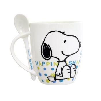 史努比Snoopy幸福馬克杯(附匙)-390ml*2入/組