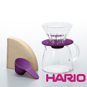 【HARIO】V60玻璃濾杯咖啡壺組紫色 VGS-3512-PU