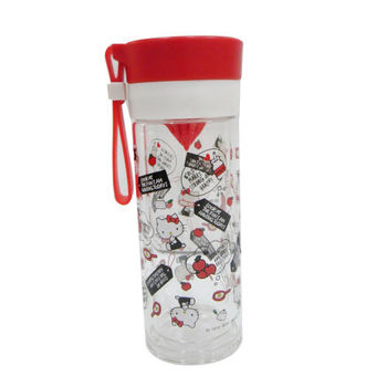 Hello Kitty雙層耐熱玻璃檸檬瓶(紅)-360ML