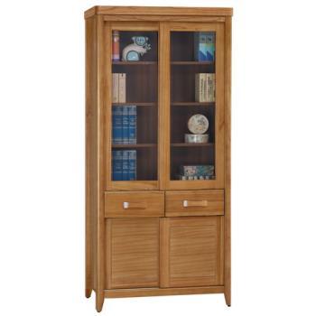 顛覆設計 絲莉愛2.7尺柚木實木推門中抽書櫃