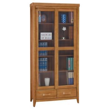 顛覆設計 絲莉愛2.7尺柚木實木推門下抽書櫃