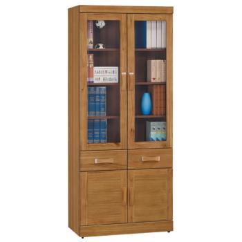 顛覆設計 絲莉愛2.7尺柚木實木中抽書櫃