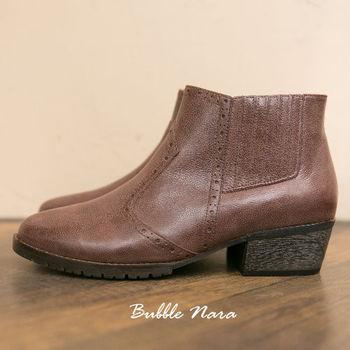 Bubble Nara 波波娜拉~短靴-騎士旅人復古短靴(酒紅色),植物染水臘牛皮,久穿自然陳色,MIT 真皮短靴