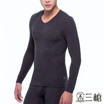 【三槍牌】時尚經典型男圓領超彈性長袖發熱衣2件組(灰藍各1)