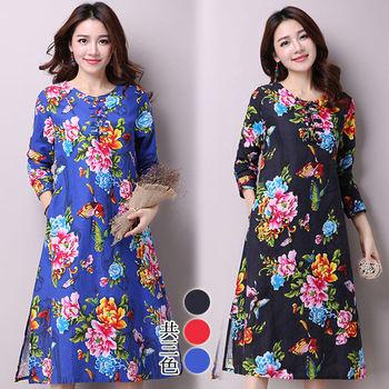 【韓國K.W. 】春夏首賣中式棉麻復古印花洋裝